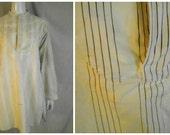 Vintage Man's Shirt Antique 1910's Edwardian Striped Dress Shirt Bib Front Cotton Steampunk