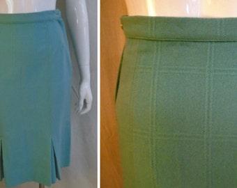 Vintage Pencil Skirt 1950's Light Blue Wool Small Straight Fall Skirt 25 Waist
