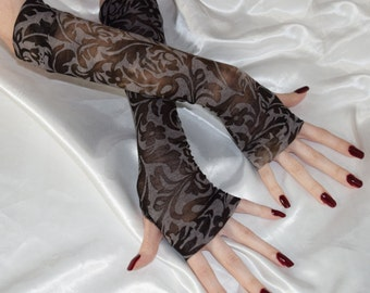 Floral Burnout Arm Warmers Victorian Fingerless gloves long sleeves boho bohemian gypsy belly dance goth gothic vampy Edwardian archaic emo