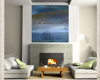 Gray Blue Original Painting Abstract Art Large Canvas Modern 36 x 36 Indigo Navy Gray Brown Landscape Seascape 40 x 40