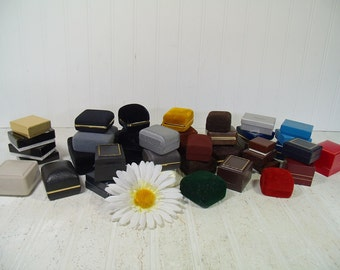 Large Collection of 39 Vintage Jewelry Cases in Assorted Colors - Vintage Jeweler Presentation Boxes Group of 39 for Display & Repurposing