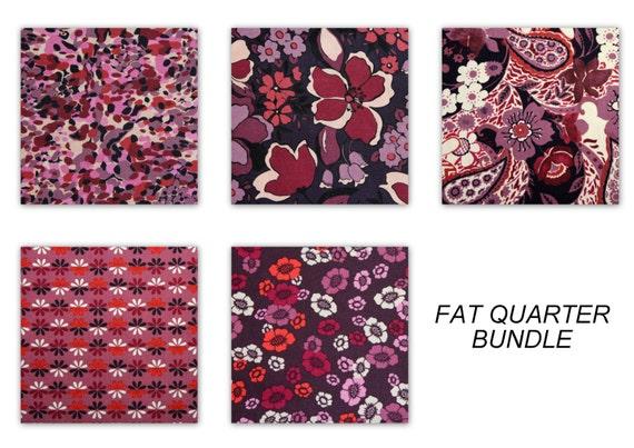 FAT QUARTER Fabric Bundle for Jo Ann Fabrics 100% Cotton Quilt Apparel Craft Flower Fabric Purple Mulberry Raspberry Orange Pink Ivory