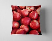 Foodie Gifts Red Throw Pillow - Nectarines Red Kitchen Decor, Red Home Decor - 20x20, 18x18, or 16x16 Decorative Throw Pillow Cover