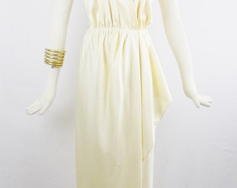 Vintage Grecian HALSTON Plunging Disco CREAM HALTER Wrap  Maxi  Dress Size Small to medium