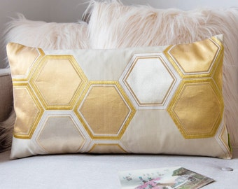 "Gold Geometric Pillow, Metallic Hexagon Throw Cushion, Upcycled Vintage Japanese Obi Silk, Gilt Thread Weave Accent Pillow 12""x22"" ECO"