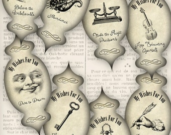 Wishes Apothecary Labels printable decor decoration scrapbook paper crafting diy instant download digital collage sheet - 1231VEDEAPVI