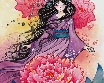 "Girl in Kimono Art Print, ""Beautiful Day"", Anime Art, Peony Flower"