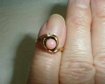 vintage j esposito angel skin coral ring gold plated sz.5 diamond chip espo pink gold clear ring sweet lovely