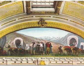 Mural Painting Union Station Salt Lake City Utah Pioneers Entering Great Salt Lake Valley Post card Vintage Postcard