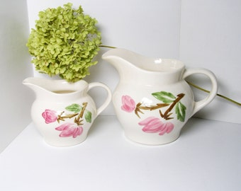 Cottage Chic Pitcher SET, Pink and Green Continental Kilns - Green Arbor Pattern