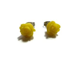 Yellow Rose Stud Earrings ~ One Pair ~ 9mm ~ Post Earring ~ Flower ~ Bridesmaid ~ Lemon ~ Butter ~