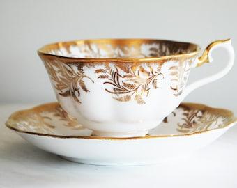 Royal Albert Teacup and Saucer / Gold Fern Tea Cup / Royal Albert Bone China