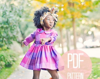 Girls Peter Pan Collar Dress Pattern PDF Easy Quick Sewing Project Girls Dress Pattern Long Sleeve Dress Sewing Pattern Vintage Style Baby