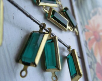 Vintage Emerald Swarovski Rectangular Glass Connectors