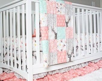 Girl Crib Bedding Woodlands Fawn Baby Deer Set