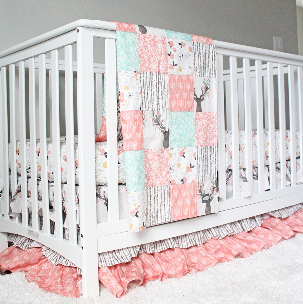 girl crib bedding woodlands fawn girl baby bedding baby girl. Black Bedroom Furniture Sets. Home Design Ideas