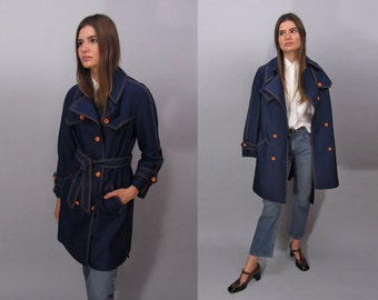 60s Mod Trench Coat, Raincoat, Belted Trench Coat, Vintage 60s Coat Δ size: md / lg