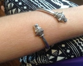 RESERVED Silver and marcasite Panther cuff bracelet