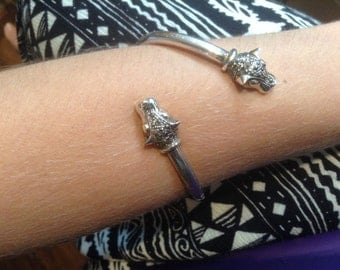 Silver and marcasite Panther cuff bracelet