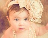 flower girl headband, custom luxury pearl flower couture headband