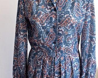 Vintage Paisley Dress - 1960s Day Dress - Blues and Browns - Secretary Dress