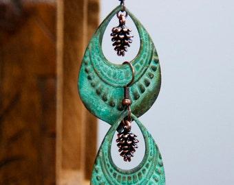 Art Deco Pine Cone Earrings Verdigris Patina Drops Pinecone Jewelry - E287