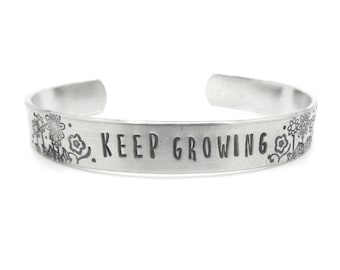 gift, for her, inspirational jewelry, flower bracelet, expandable bracelet, daughter, motivational, graduation, birthday, silver