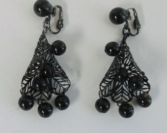 Black Filigree and Bead Dangle Earrings - Clip on