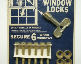 Vintage Hardware Store Display Card Window Locks Burglar