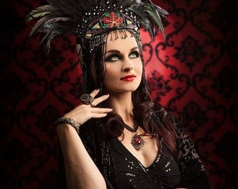 Tribal Gypsy Versatile  Gatsby Flapper Antique beaded appliques feathered  crown headpiece headdress dance costume