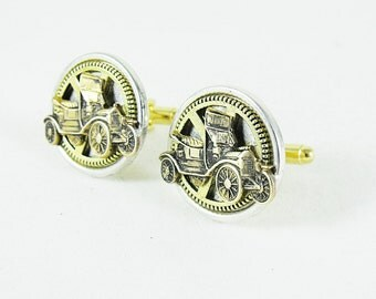 Silver Steampunk  Cuff Links, Antique Car and Gears Mixed Metals Brass and Silver  Mens  Accessories  Handmade