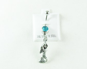 Belly Ring, Nautical Pewter Mermaid With Aqua Rhinestone,    Womens Gift  Handmade