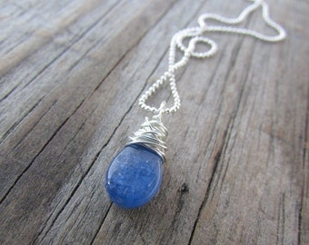 Kyanite Pendant necklace, small, simple, wire wrapped gemstone pendant