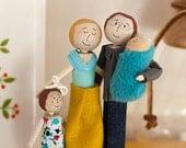 Family Portrait Topper- Handmade Keepsake Decoration- custom made family wood figurines