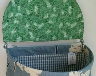Blue Dandelion Lidded Clothespin Bag
