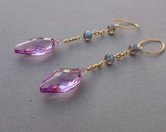 Long Pink Swarovski Crystal Earrings - Flash Labradorite Earrings with Gold Fill and Vermeil