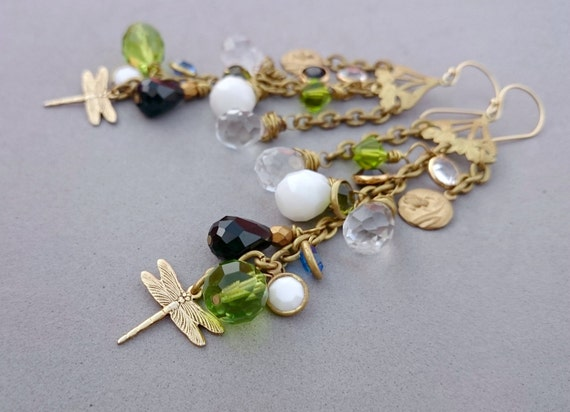Long Dragonfly Earrings with Vintage Swarovski Crystals, Glass and Raw Brass Chandeliers and Chain