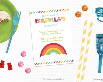 Personalized Printable Modern Rainbow Invitation - Rainbow Invite and Favor Tag or Printable Party for Birthdays or Rainbow Parties