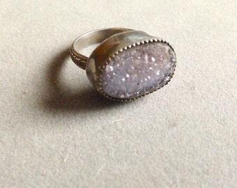Amethyst Drusy Sterling Silver Ring