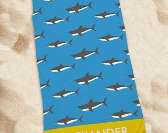 Personalized Sharks Beach Towel, summer, pool, beach, for him, boys - U1044133