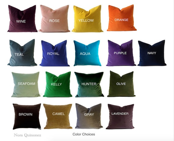 Decorative Velvet Pillow Cover -17 Color Choices- Accent Throw Pillows-Invisible Zipper Closure- Knife Or Piping Edge -16x16 to 26x26 inches