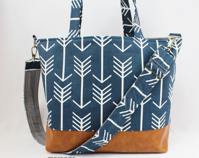 Extra Large Lulu Tote Messenger Diaper Navy Arrow PU Leather - Archer Vegan Overnight Nappy Beach - 7 pockets Attach to stroller