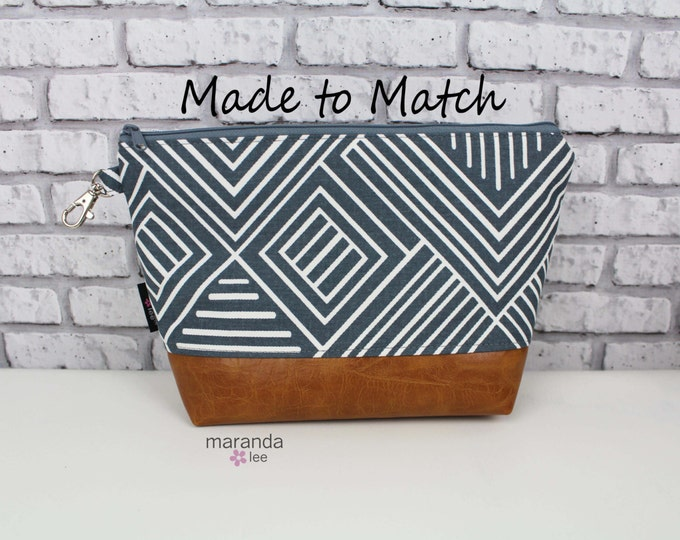 AVA Clutch -3 sizes available - MADE to MATCh your bag with PU Vegan Leather Cosmetic  Diaper bag Travel Make Up Zipper Pouch
