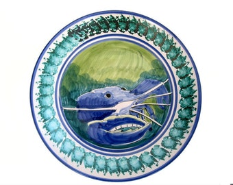 Vietri Blue Crab Vintage Large Bowl Wall Hanging Italian Pottery