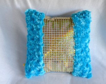 Fluffy Turquoise and Gold Sequin Pillow Cover