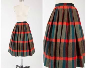 1950s Vintage Skirt • Holy Moly • Red Brown Blue Plaid Wool 50s Vintage Pleated Skirt by Pendleton Size Small