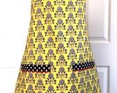 Women's Black Yellow Floral Damask Black Dot Trim Reversible