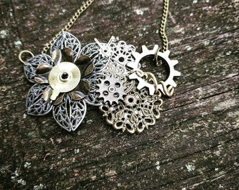 Steampunk Antiqued Brass and Silver Filigree Collage Industrial Neo-Victorian Repurposed Handmade Ooak Machinery Lace Necklace