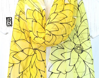 Yellow Silk Scarf Handpainted, Gift for her, Birthday Gift, Yellow Scarf, Sunny Yellow Floral Scarf, Silk Chiffon Scarf, Made to order.