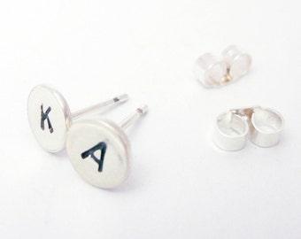 Initial Earrings- Letter Earrings- Personalized Earrings- Sterling Silver Earrings- Made in UK- Stud Earrings- Simple Stud
